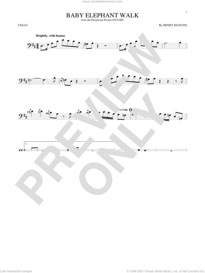 Baby Elephant Walk sheet music for cello solo by Henry Mancini, intermediate skill level