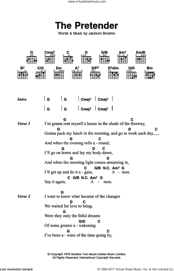 The Pretender sheet music for guitar (chords) by Jackson Browne, intermediate skill level