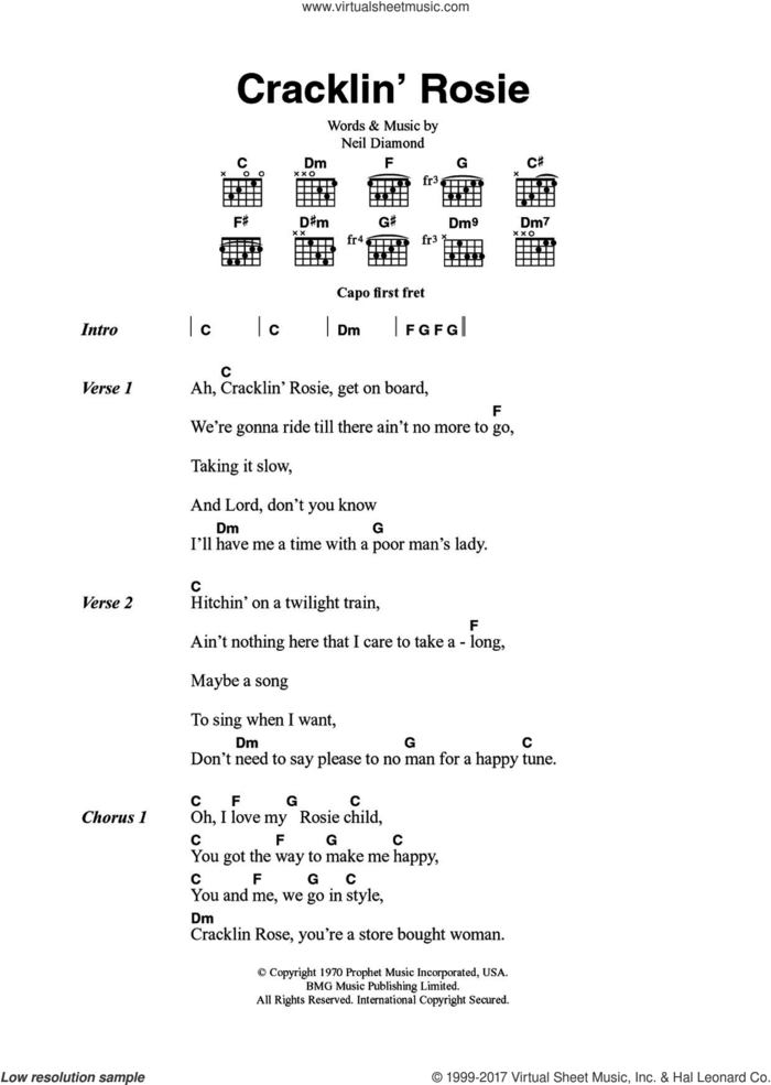 Cracklin' Rosie sheet music for guitar (chords) by Neil Diamond, intermediate skill level