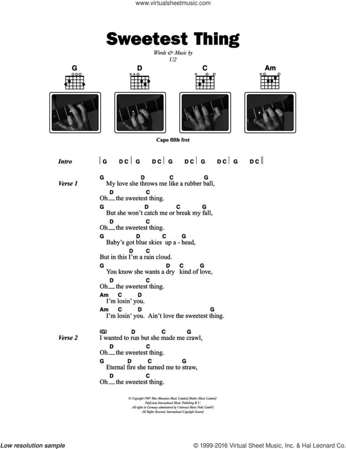Sweetest Thing sheet music for guitar (chords) by U2, intermediate skill level