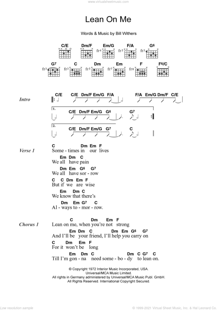 Lean On Me sheet music for guitar (chords) by Bill Withers, intermediate skill level