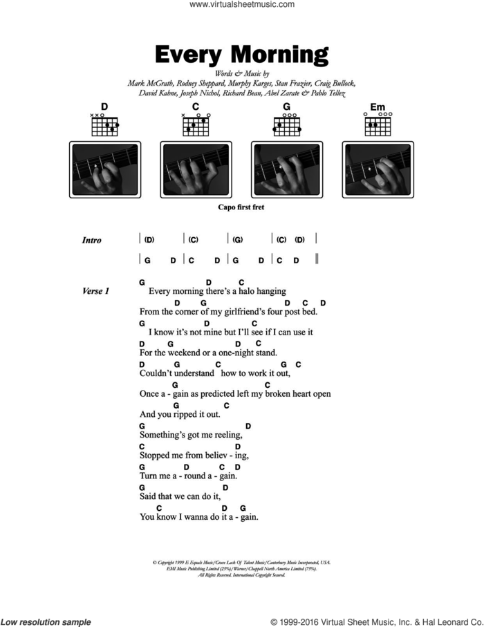Every Morning sheet music for guitar (chords) by Sugar Ray, Abel Zarate, Craig Bullock, David Kahne, Joseph Nichol, Mark McGrath, Murphy Karges, Pablo Tellez, Richard Bean, Rodney Sheppard and Stan Frazier, intermediate skill level
