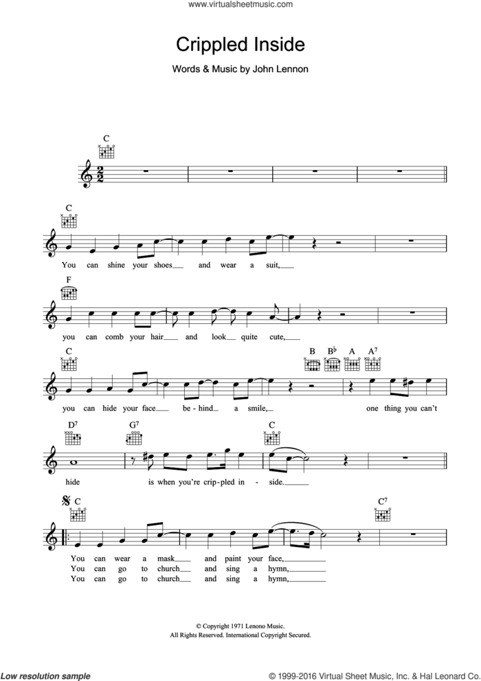 Crippled Inside sheet music for voice and other instruments (fake book) by John Lennon, intermediate skill level