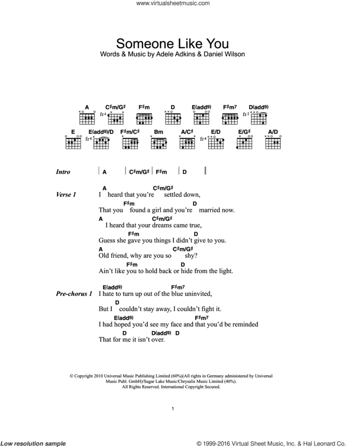 Someone Like You sheet music for guitar (chords) by Adele and Dan Wilson, intermediate skill level