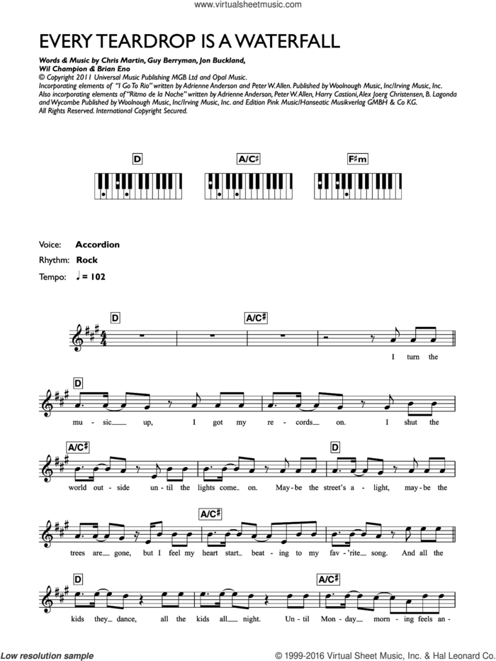 Every Teardrop Is A Waterfall sheet music for piano solo (chords, lyrics, melody) by Coldplay, Adrienne Anderson, Brian Eno, Chris Martin, Guy Berryman, Jonny Buckland, Peter Allen and Will Champion, intermediate piano (chords, lyrics, melody)