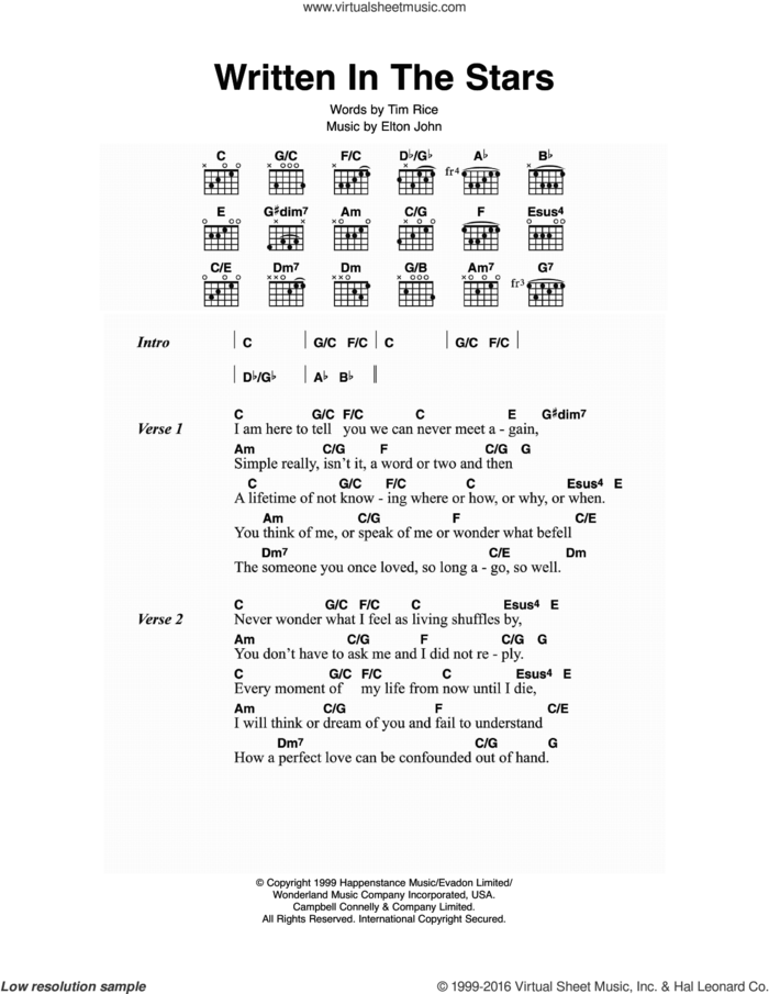 Written In The Stars sheet music for guitar (chords) by Elton John, LeAnn Rimes and Tim Rice, intermediate skill level