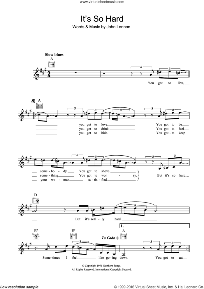 It's So Hard sheet music for voice and other instruments (fake book) by John Lennon, intermediate skill level