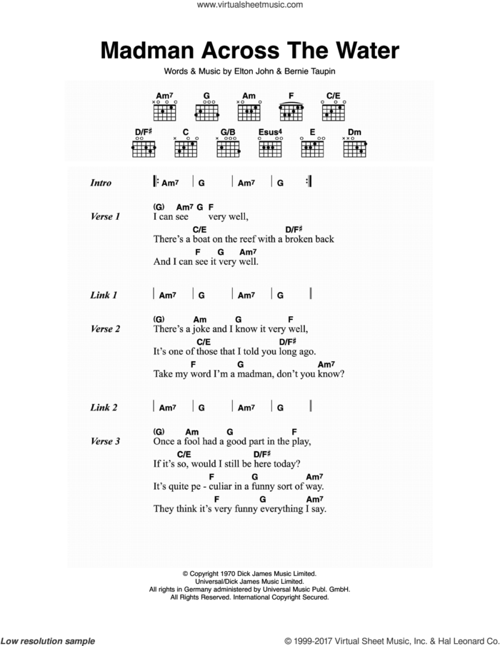 Madman Across The Water sheet music for guitar (chords) by Elton John and Bernie Taupin, intermediate skill level