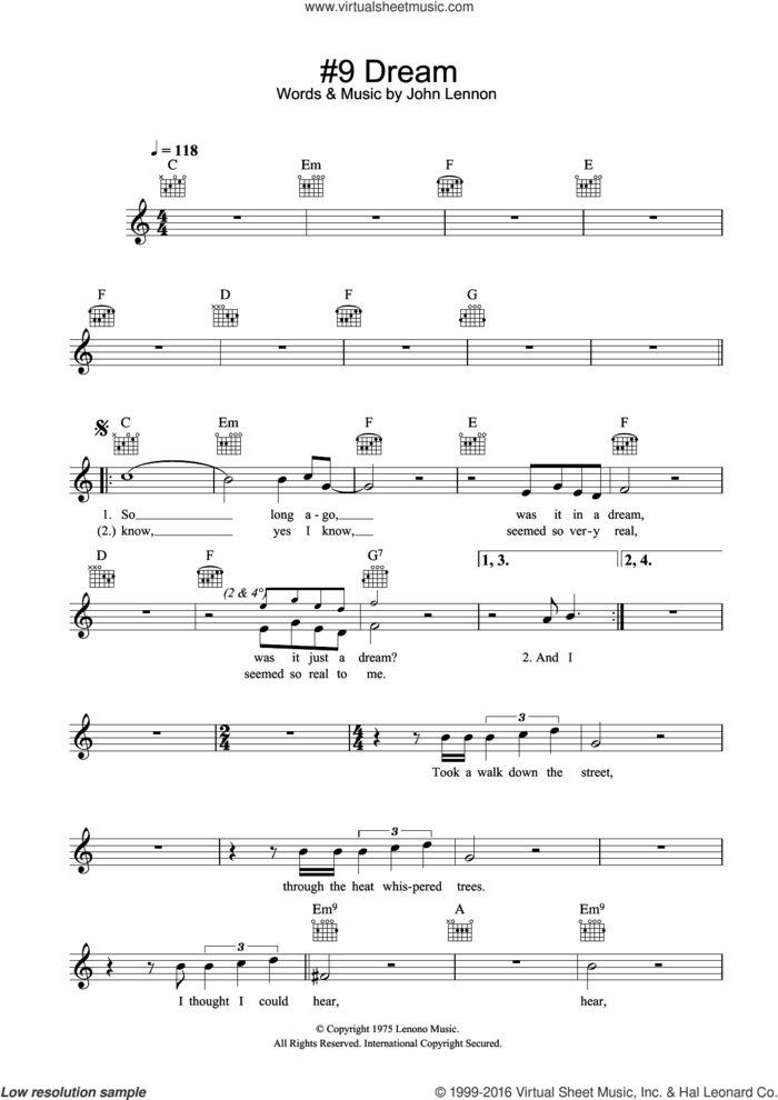 #9 Dream sheet music for voice and other instruments (fake book) by John Lennon, intermediate skill level