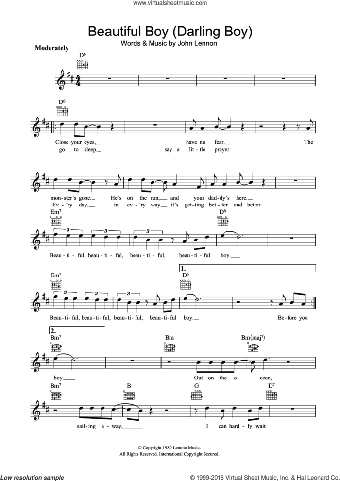 Beautiful Boy (Darling Boy) sheet music for voice and other instruments (fake book) by John Lennon, intermediate skill level