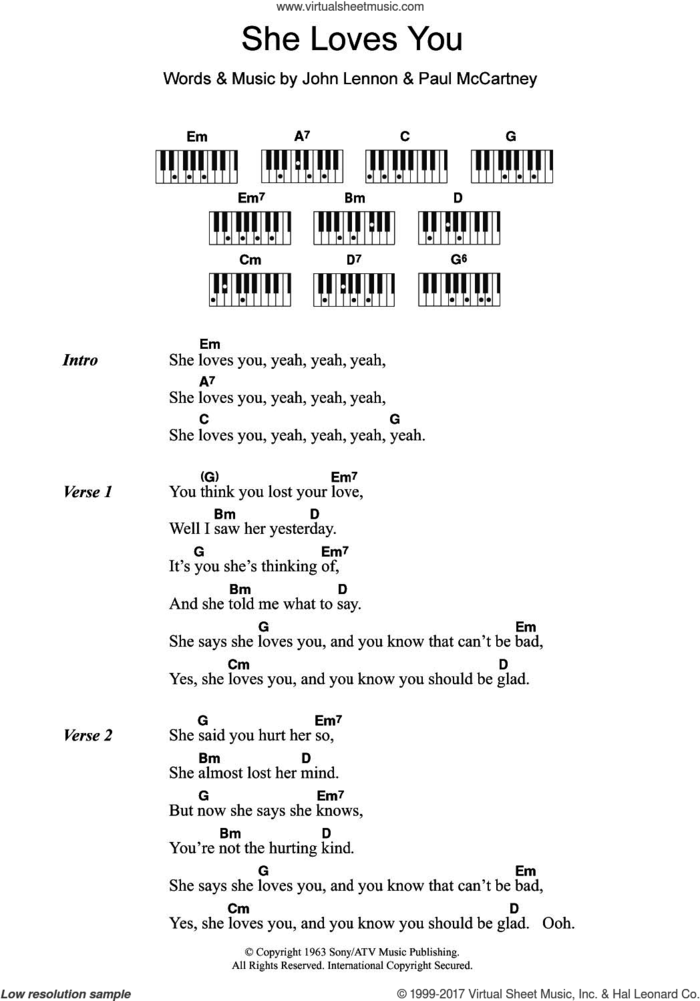 She Loves You sheet music for piano solo (chords, lyrics, melody) by The Beatles, John Lennon and Paul McCartney, intermediate piano (chords, lyrics, melody)