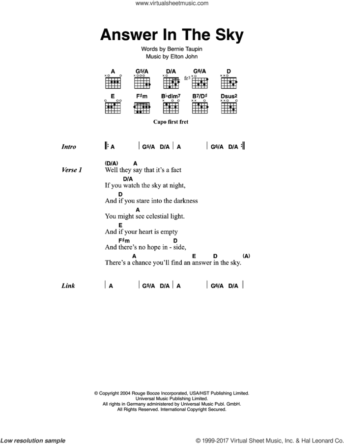 Answer In The Sky sheet music for guitar (chords) by Elton John and Bernie Taupin, intermediate skill level