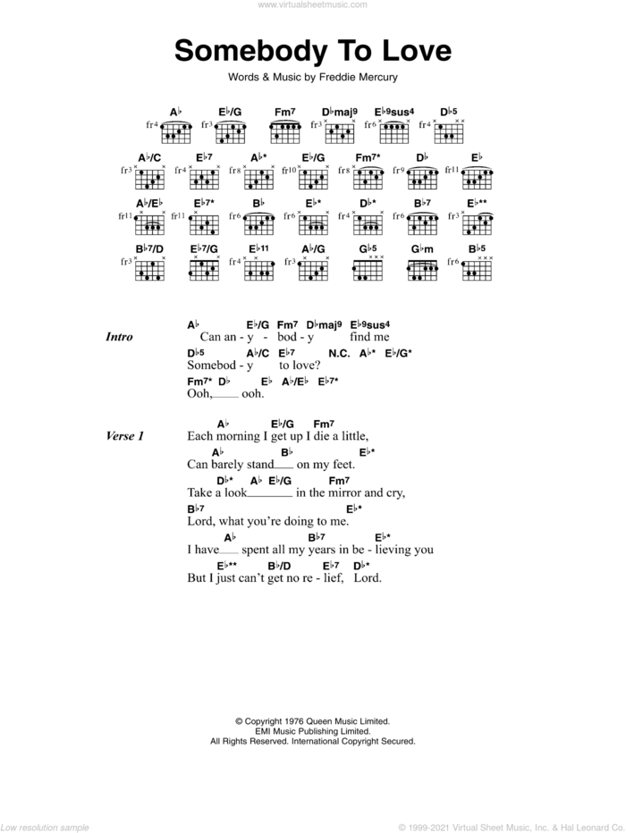 Somebody To Love sheet music for guitar (chords) by Queen and Freddie Mercury, intermediate skill level