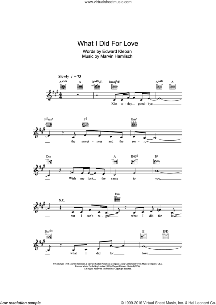What I Did For Love (from A Chorus Line) sheet music for voice and other instruments (fake book) by Marvin Hamlisch and Edward Kleban, intermediate skill level