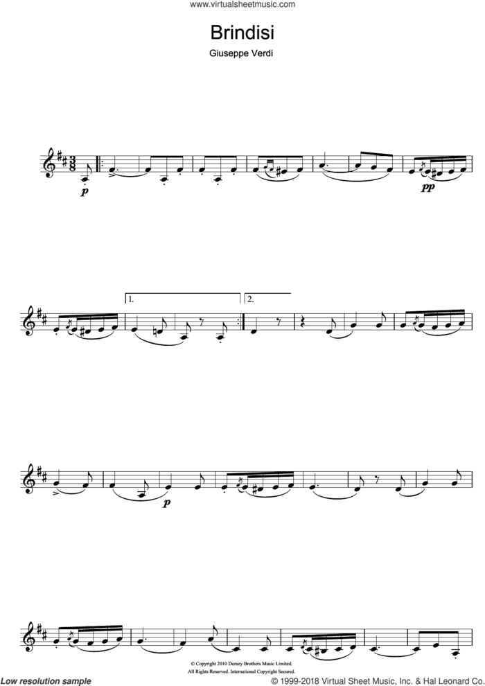 Brindisi (from La Traviata) sheet music for clarinet solo by Giuseppe Verdi, classical score, intermediate skill level