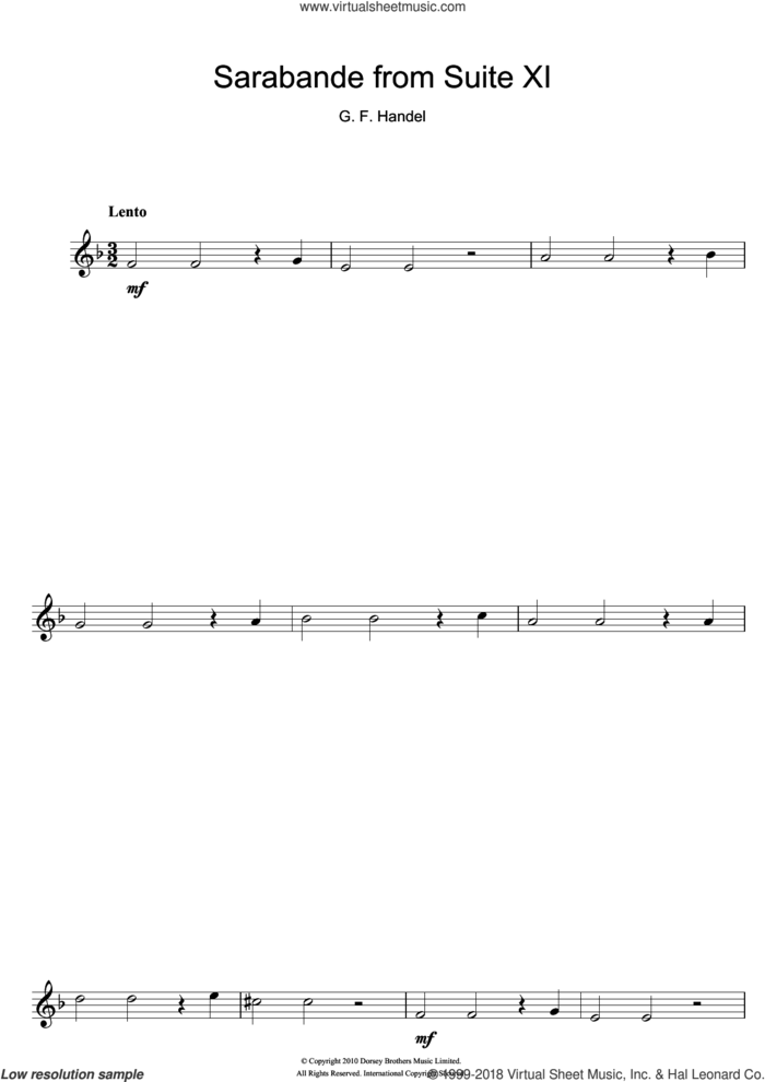 Sarabande (from Suite XI) sheet music for flute solo by George Frideric Handel, classical score, intermediate skill level
