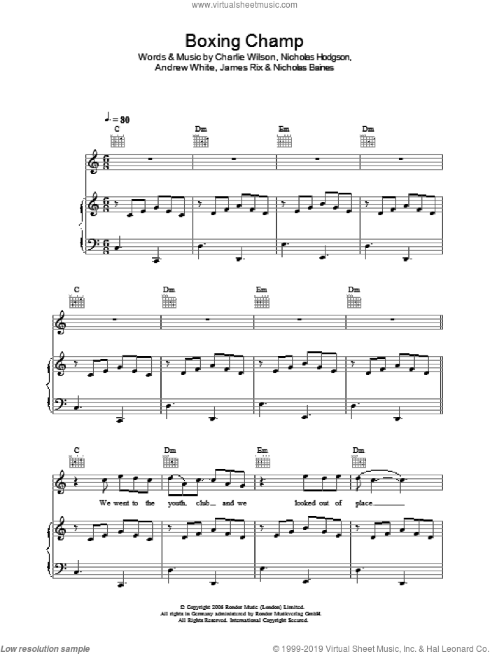 Boxing Champ sheet music for voice, piano or guitar by Kaiser Chiefs, Andrew White, Charlie Wilson, James Rix, Nicholas Baines and Nicholas Hodgson, intermediate skill level