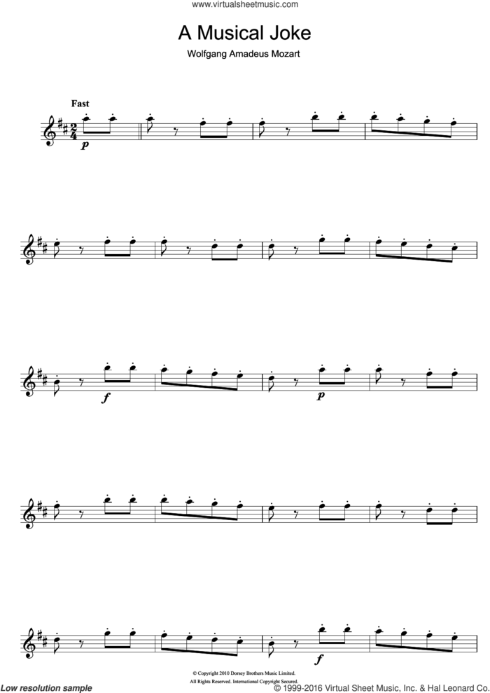 A Musical Joke sheet music for flute solo by Wolfgang Amadeus Mozart, classical score, intermediate skill level