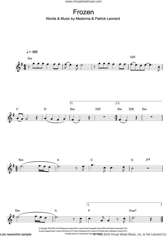 Frozen sheet music for flute solo by Madonna and Patrick Leonard, intermediate skill level