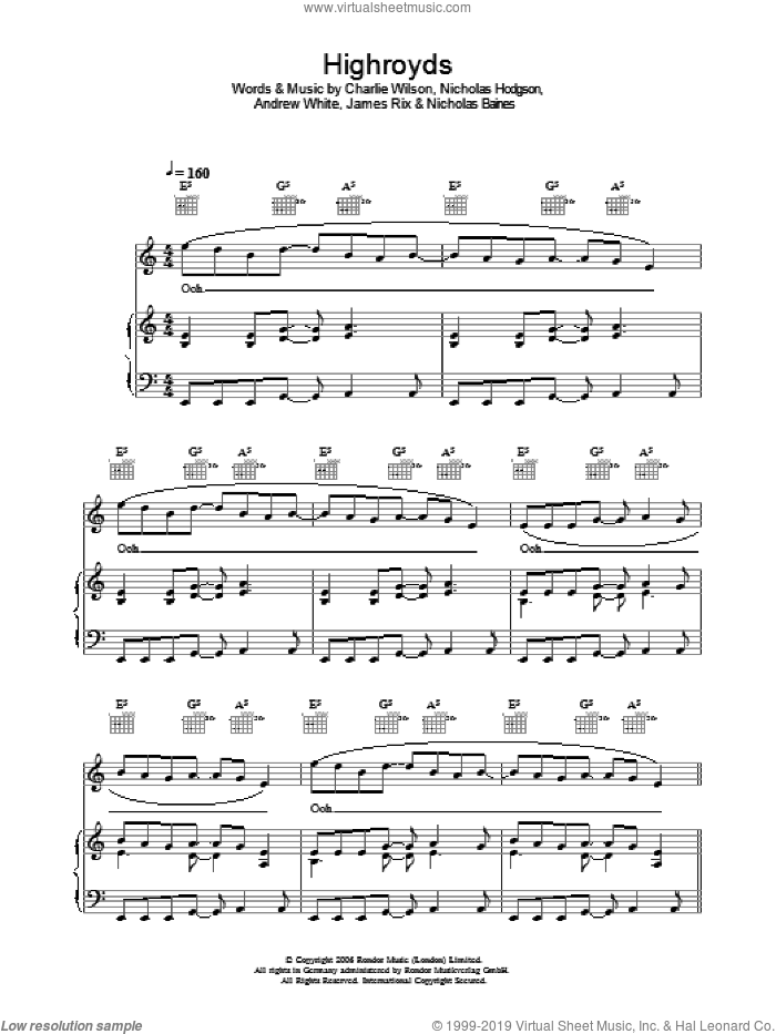 The Spirit Of The Lord Is Upon Me sheet music for voice, piano or guitar by Kaiser Chiefs, Andrew White, Charlie Wilson, James Rix, Nicholas Baines and Nicholas Hodgson, intermediate skill level