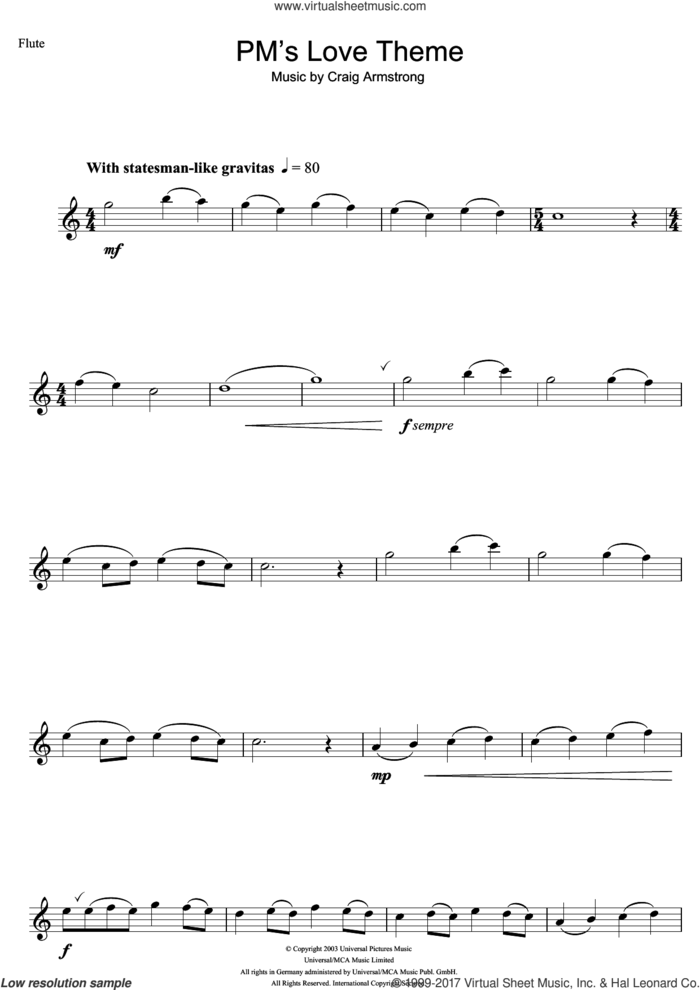 P.M.'s Love Theme (from Love Actually) sheet music for flute solo by Craig Armstrong, intermediate skill level