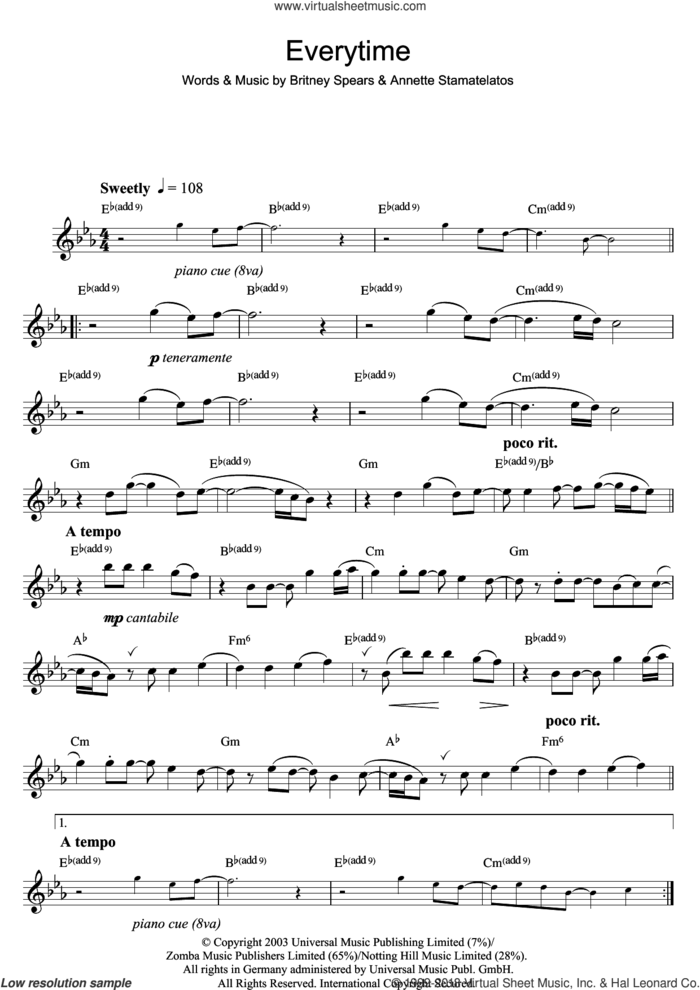 Everytime sheet music for flute solo by Britney Spears and Annette Stamatelatos, intermediate skill level