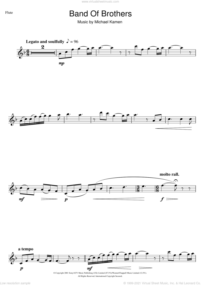 Band Of Brothers sheet music for flute solo by Michael Kamen, intermediate skill level