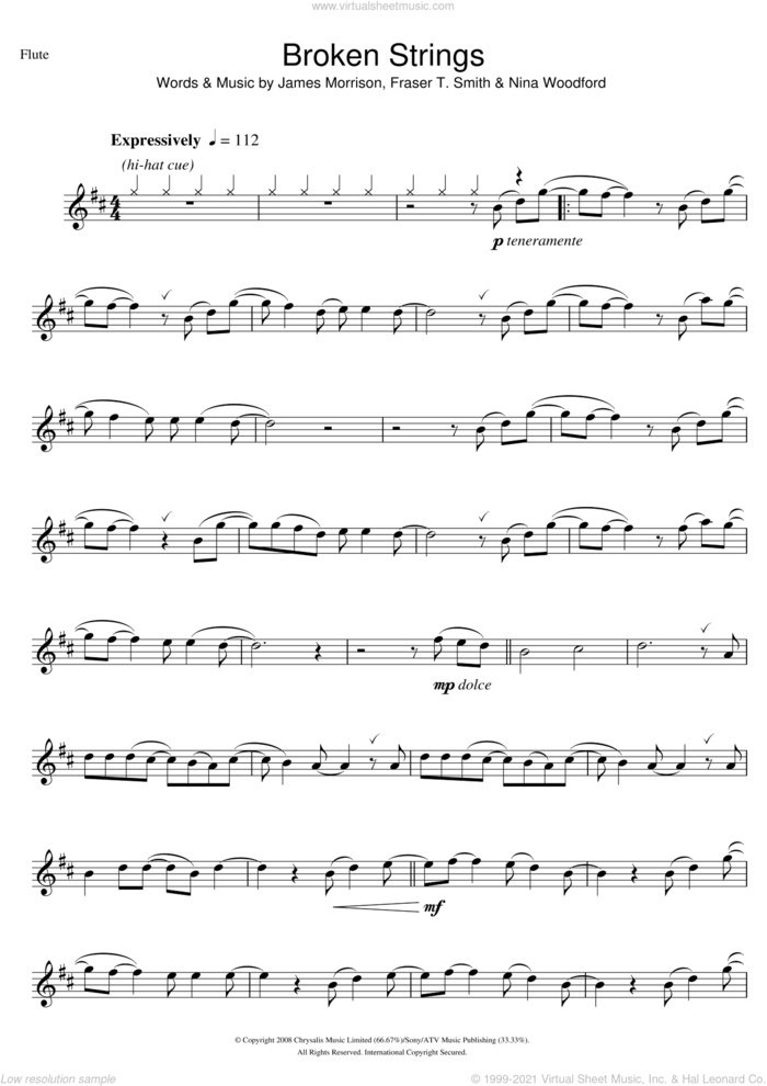 Broken Strings sheet music for flute solo by James Morrison, Fraser T. Smith and Nina Woodford, intermediate skill level