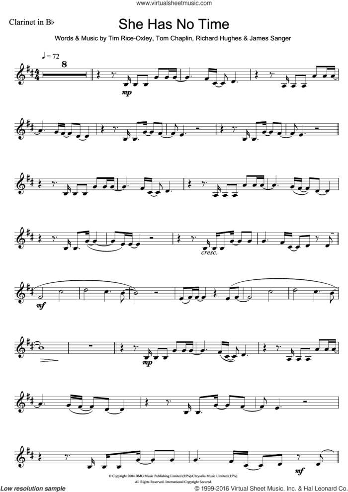 She Has No Time sheet music for clarinet solo by Tim Rice-Oxley, James Sanger, Richard Hughes and Tom Chaplin, intermediate skill level