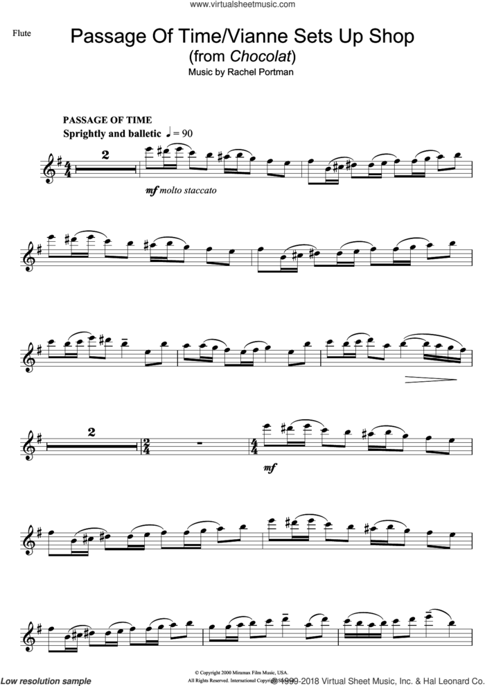 Passage Of Time/Vianne Sets Up Shop (from Chocolat) sheet music for flute solo by Rachel Portman, intermediate skill level