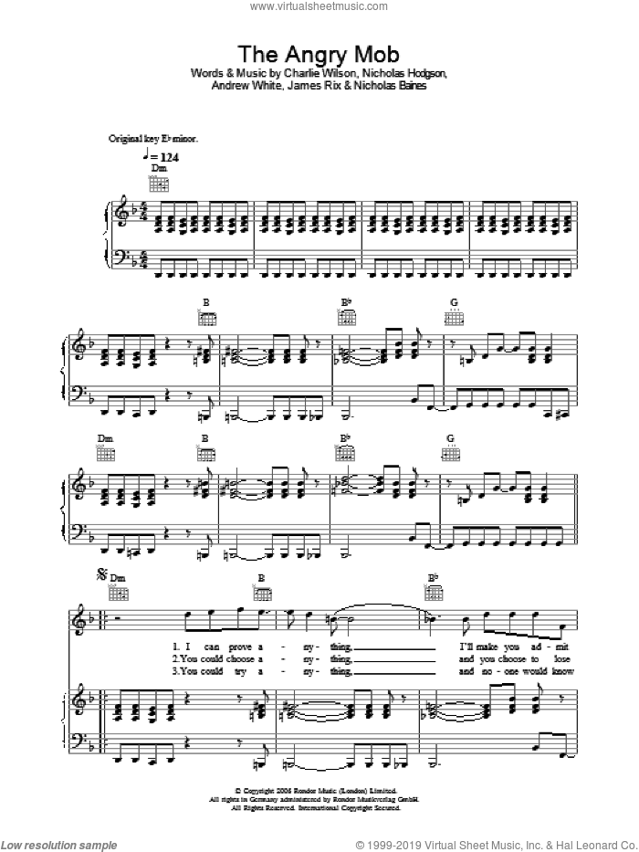 The Angry Mob sheet music for voice, piano or guitar by Kaiser Chiefs, Andrew White, Charlie Wilson, James Rix, Nicholas Baines and Nicholas Hodgson, intermediate skill level