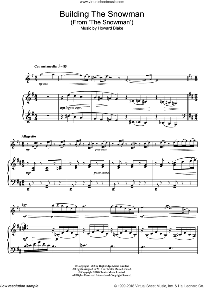 Building The Snowman (From 'The Snowman') sheet music for flute solo by Howard Blake, intermediate skill level
