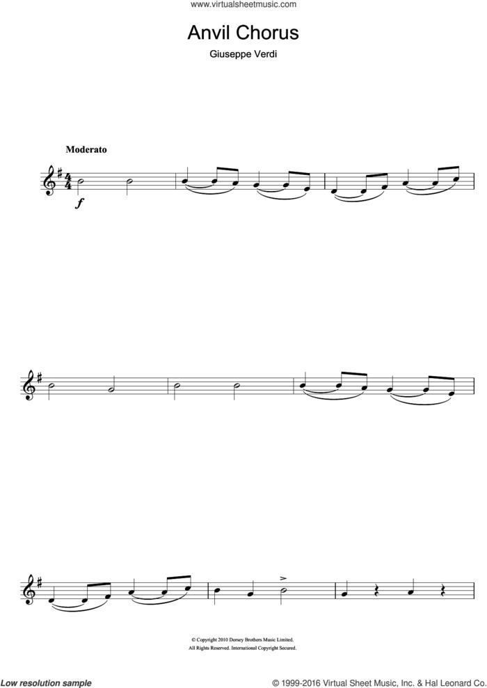 Anvil Chorus (from Il Trovatore) sheet music for clarinet solo by Giuseppe Verdi, classical score, intermediate skill level