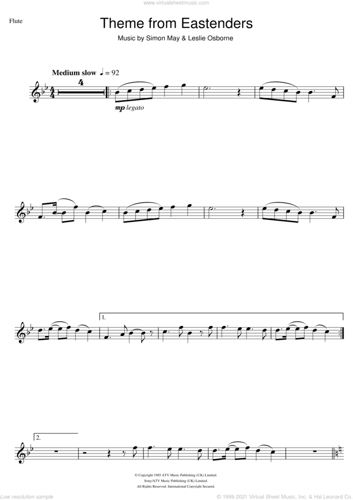 Theme from EastEnders sheet music for flute solo by Simon May and Leslie Osborne, intermediate skill level