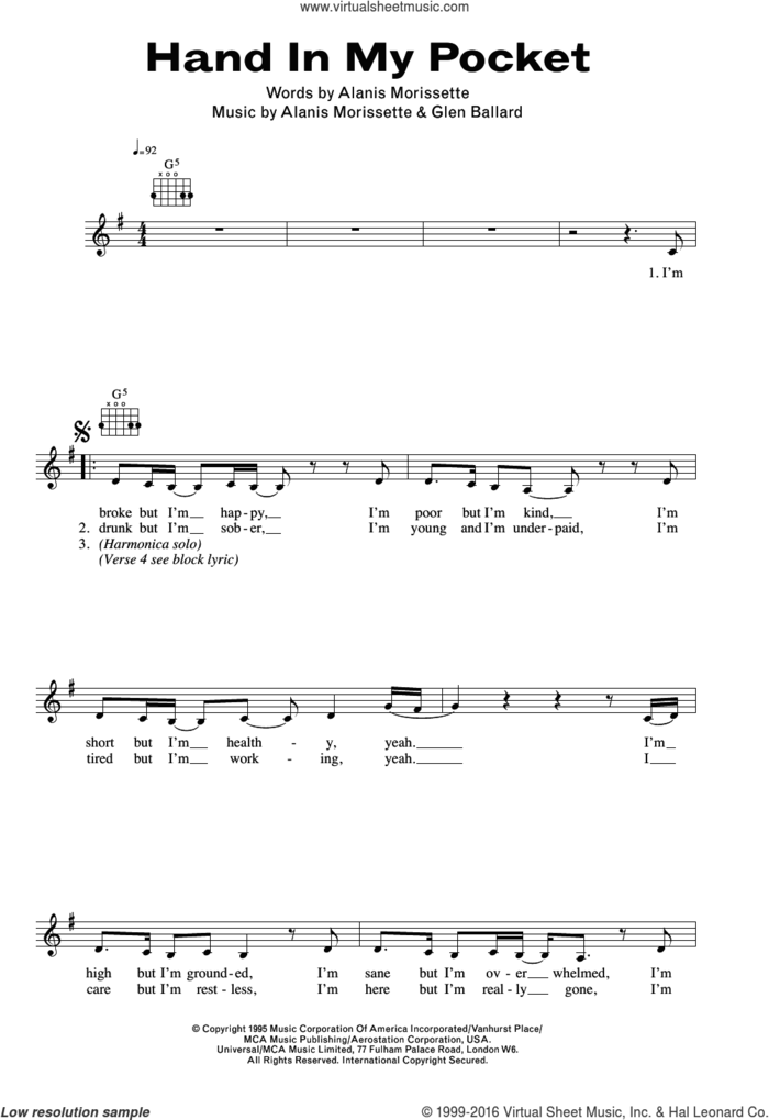 Hand In My Pocket sheet music for voice and other instruments (fake book) by Alanis Morissette and Glen Ballard, intermediate skill level