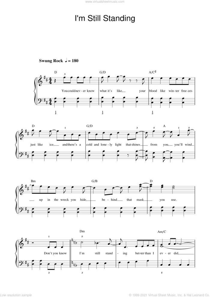 I'm Still Standing sheet music for piano solo (beginners) by Elton John and Bernie Taupin, beginner piano (beginners)