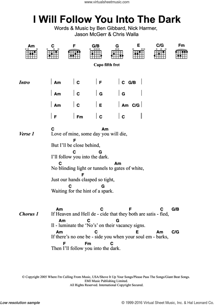 I Will Follow You Into The Dark sheet music for guitar (chords) by Death Cab For Cutie, Ben Gibbard, Chris Walla, Jason McGerr and Nick Harmer, intermediate skill level