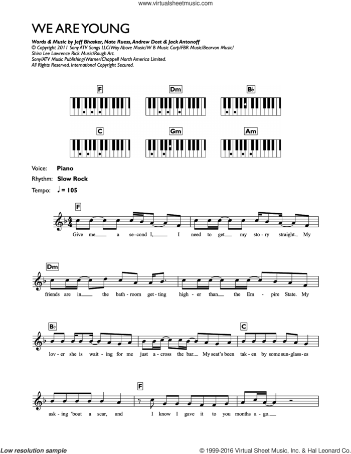 We Are Young sheet music for piano solo (chords, lyrics, melody) by Jeff Bhasker, Fun, Andrew Dost, Jack Antonoff and Nate Ruess, intermediate piano (chords, lyrics, melody)