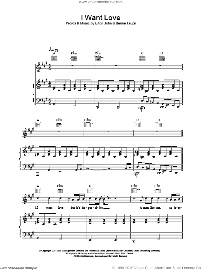 I Want Love sheet music for voice, piano or guitar by Elton John and Bernie Taupin, intermediate skill level