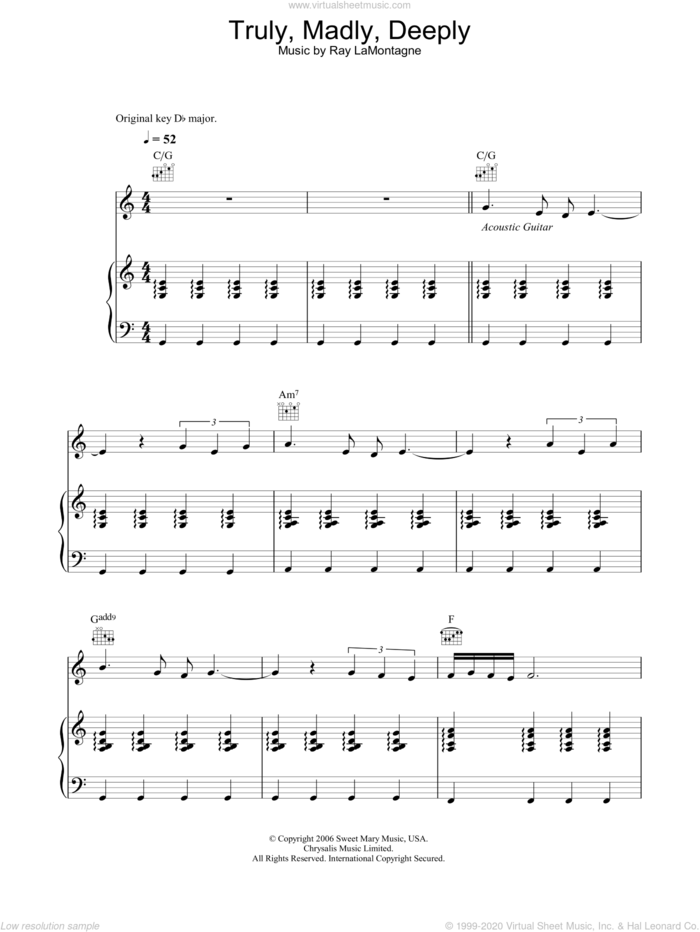 Truly, Madly, Deeply sheet music for voice, piano or guitar by Ray LaMontagne, intermediate skill level