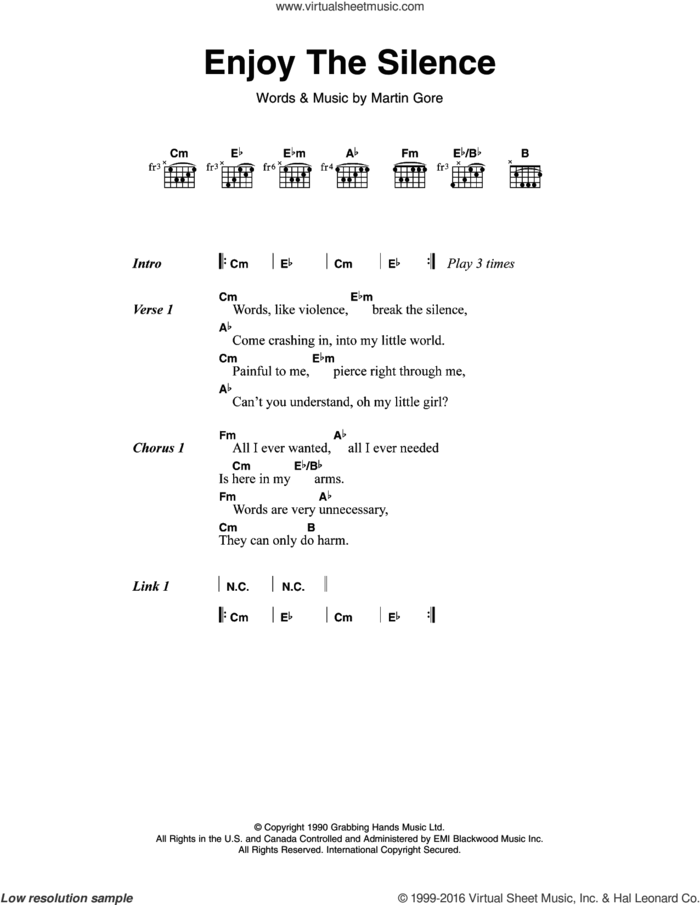 Enjoy The Silence sheet music for guitar (chords) by Depeche Mode, Jimmy Sommerville and Martin Gore, intermediate skill level
