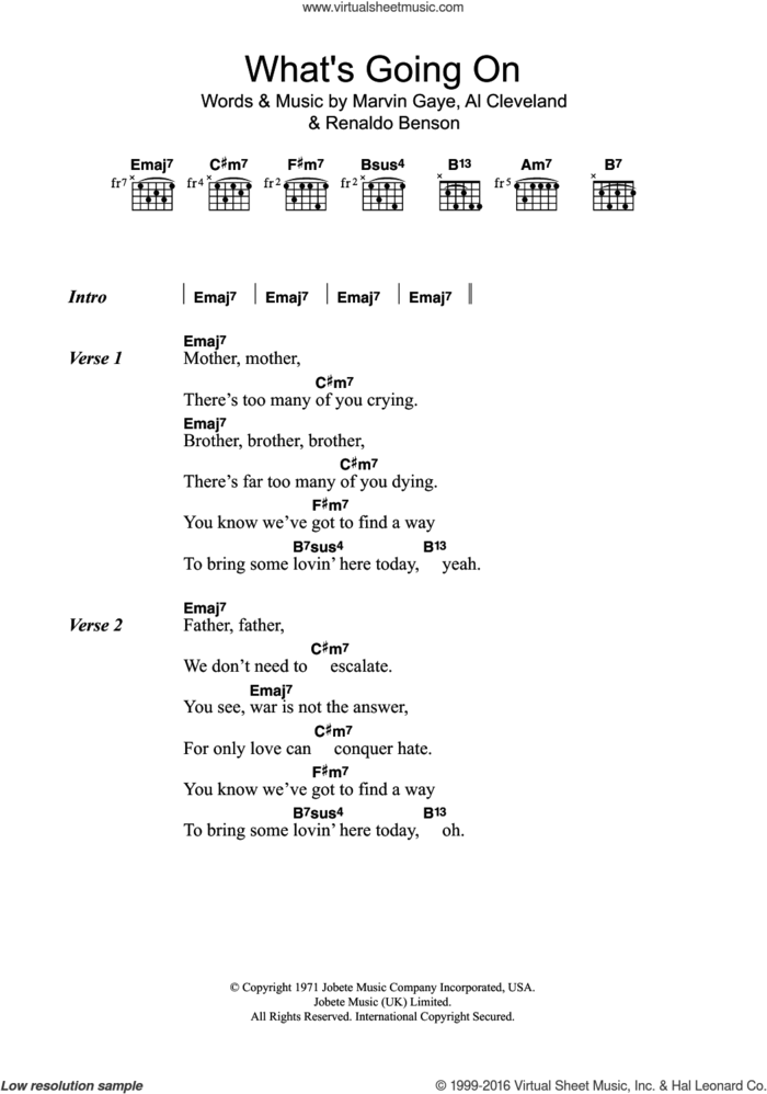 What's Going On sheet music for guitar (chords) by Marvin Gaye, Al Cleveland and Renaldo Benson, intermediate skill level