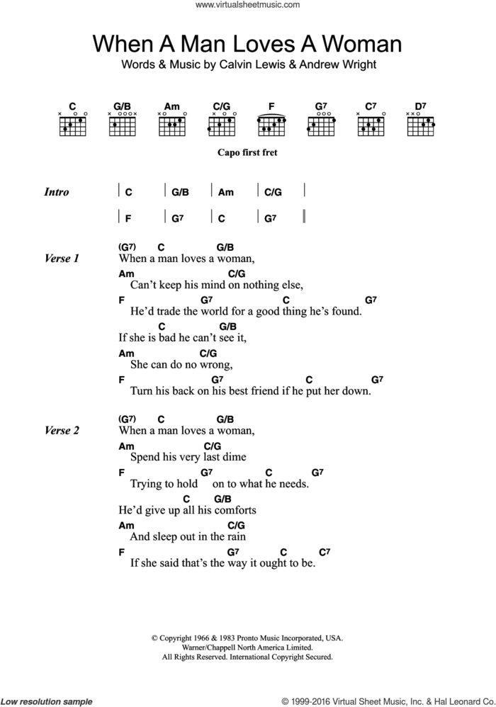 When A Man Loves A Woman sheet music for guitar (chords) by Percy Sledge, Andrew Wright and Calvin Lewis, intermediate skill level