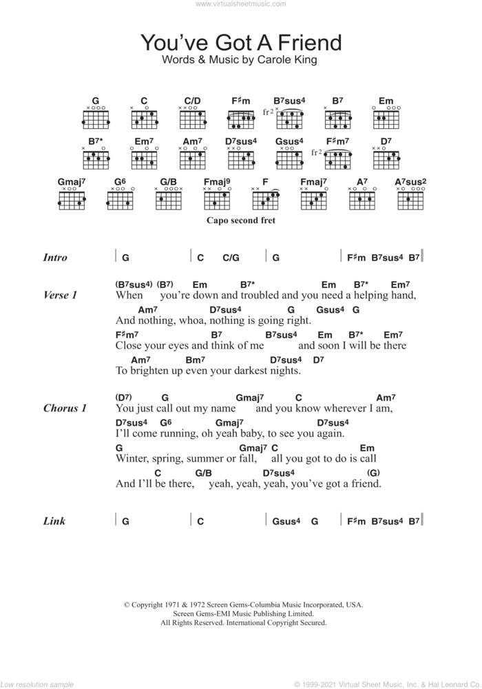 You've Got A Friend sheet music for guitar (chords) by Carole King, intermediate skill level
