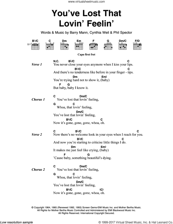 You've Lost That Lovin' Feelin' sheet music for guitar (chords) by The Righteous Brothers, Elvis Presley, Barry Mann, Cynthia Weil and Phil Spector, intermediate skill level