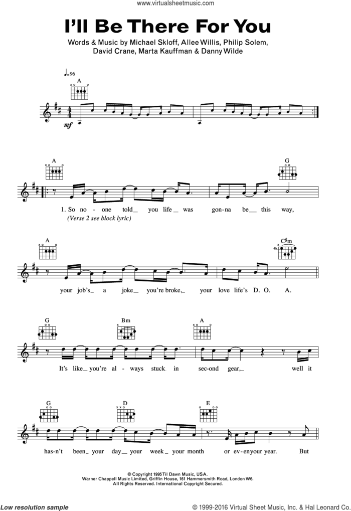 I'll Be There For You (theme from Friends) sheet music for voice and other instruments (fake book) by The Rembrandts, Allee Willis, Danny Wilde, David Crane, Marta Kauffman, Michael Skloff and Philip Solem, intermediate skill level