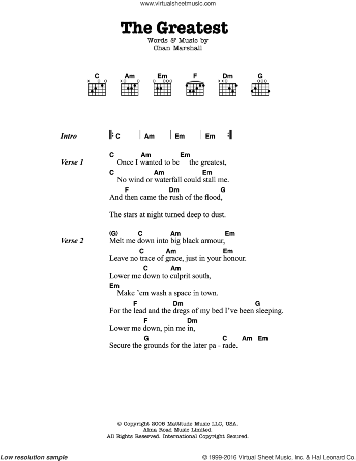 The Greatest sheet music for guitar (chords) by Cat Power and Chan Marshall, intermediate skill level