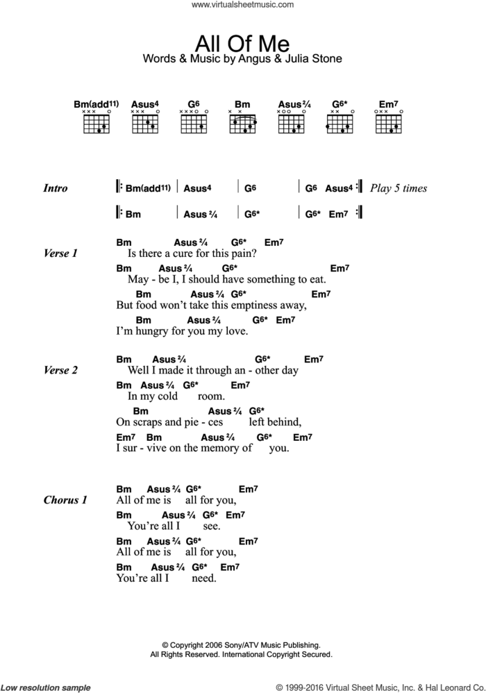 All Of Me sheet music for guitar (chords) by Julia Stone and Angus Stone, intermediate skill level