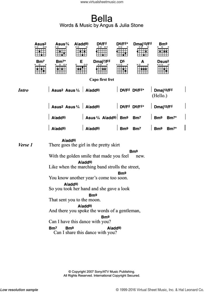 Bella sheet music for guitar (chords) by Julia Stone and Angus Stone, intermediate skill level