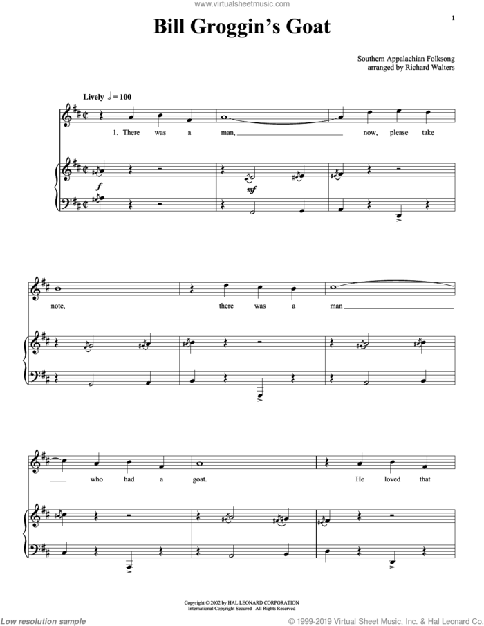 Bill Grogan's Goat sheet music for voice and piano by Anonymous and 19th Century American Folksong, intermediate skill level